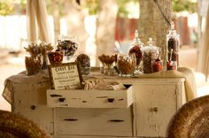 Use an old buffet as a sweet station, reception station, gift station...the possibilities are endless!