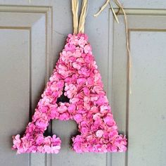 """Hydrangea """"A"""" made from scrapbook paper and a flower punch #DIY"""