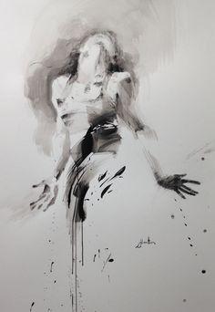 danse, l'éblouissement - Peinture,  70x100 cm ©2016 par Ewa Hauton -                                                                                                Peinture contemporaine, Papier, Art abstrait, Arts de la scène, Calligraphie, Femmes, ewa hauton, dance in paiting, dancer, ink painting