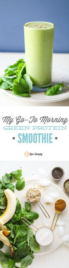 This is my go-to smoothie nearly every single morning. This smoothie is packed full of leafy greens and natural protein (no fancy protein powders).
