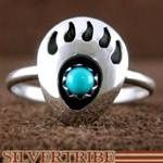 Navajo Indian Jewelry Turquoise And Genuine Sterling Silver Bear Paw Ring Size 8-3/4 AS48622