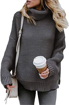 1cb7ea5326ccf5 Women's Casual Sweaters Cardigan Cowl Neck Turtleneck Pullver Sweater  Shirts Tops Knited Coat Outwear at Amazon