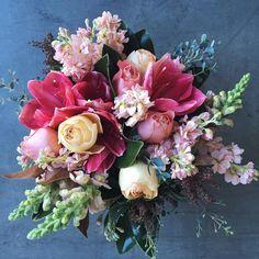 Amarylis, Tulips, Roses, Stock Spring bouquet, pink flowers Camelback Flowershop