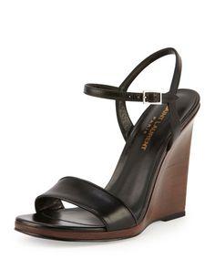 Saint Laurent Jane Wooden Wedge Sandal, Noir  EUR 656.26