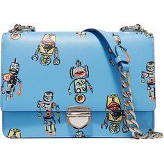 Prada Printed textured-leather shoulder bag (49 750 UAH) ❤ liked on Polyvore featuring bags, handbags, shoulder bags, bolsas, cell phone purse, prada, blue purse, prada purses and clasp purse