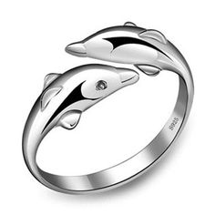 Hot Sale Double Dolphin Adjustable Sterling Silver Ring