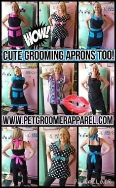 Grooming Aprons, and Grooming Apparel for the Professional Pet Groomers by… Mobile Pet Grooming, Dog Grooming Shop, Dog Grooming Salons, Poodle Grooming, Dog Grooming Business, Creative Grooming, Dog Salon, Pet Boutique, Dog Daycare