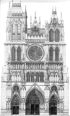 architectural #drawing of #Amiens Cathedral, France. Begun 1220 - The western frontispiece of Amiens cathedral displays a program of three sculpted portals. #gothic