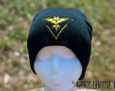 Pokemon Go Beanie Instinct Team adult Toboggan Hat Skull Cap Winter Warm Head Accessory Black Yellow Embroidered