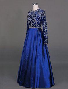royal blue prom dress, long prom dress, modest prom dress, long sleeves prom dress, A-line evening dress, BD92
