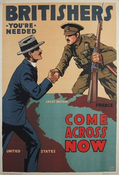 Britishers You are Needed original vintage war poster by Lloyd Myers from 1917 England.