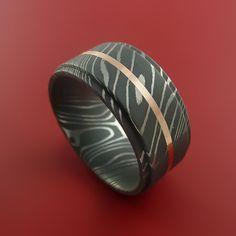 Damascus Steel 14K Rose Gold Wide Ring Wedding Band Custom Made Genuine Craftsmanship $598.92