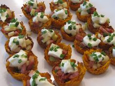Baked Sweet Potato Nests with Andouille and Apple. I was searching for a gluten/nightshade-free appetizer recipe when I stumbled upon this. Cute bite-sized appetizers with the flavors of Fall. I used chicken apple sausage and sauteed the sausage, apple and celery so it could be served warm. Topped with creme fraiche and chives.. Yum!