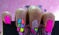 Nails - To me summer means neon colors and wild patterns. Funky Nail Art, Funky Nails, Crazy Nails, Fingernail Designs, Toe Nail Designs, Nails Design, Sexy Nails, Hot Nails, Bright Nails