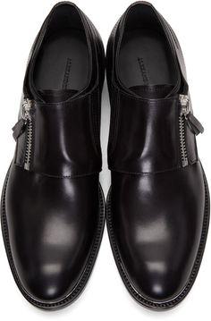 0faa67757bc Alexander McQueen - Black Leather Zip Monkstraps Cuir Noir
