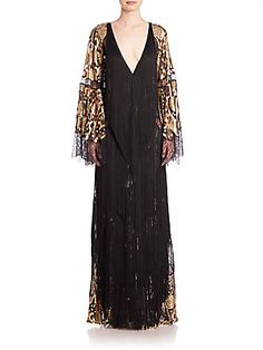 Roberto Cavalli Bell-Sleeve Fringe Gown - Black