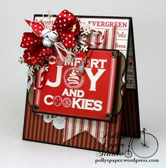 Comfort and Joy and Cookies Christmas Greeting Card Handmade