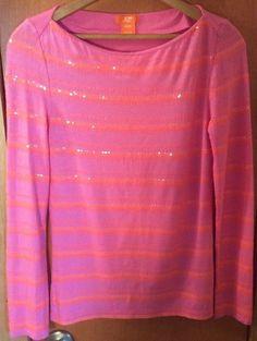 Junior Women's! Joe Fresh Pink Orange Sequin XSMALL/TP LS PO Knit Top Shirt 241 | Clothing, Shoes & Accessories, Women's Clothing, Tops & Blouses | eBay!