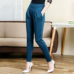 Nova cintura alta das mulheres magro longo calças OL casual Bow harem pants plus size cor Khaki preto frete grátis kz41 em Calças de Roupas e Acessórios no AliExpress.com | Alibaba Group