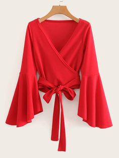 To find out about the Flounce Sleeve Belted Surplice Blouse at SHEIN, part of our latest Blouses ready to shop online today! 70s Shirts, Retro Shirts, Short Pencil Skirt, Pencil Skirts, Hippie Tops, Spring Shirts, Hippie Outfits, Wrap Blouse, Types Of Sleeves