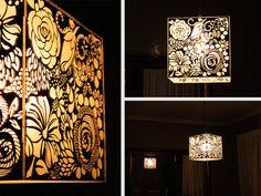 Laser Engraved Mirror Perspex Floral Light Shade