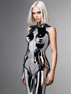 Cara Delevingne shiny metallic silver outfit