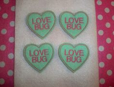 Machine Embroidered Hand made 4 Felt Love Bug by HeartFeltCreation, $3.40