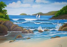 pintura em tela praia - Pesquisa Google