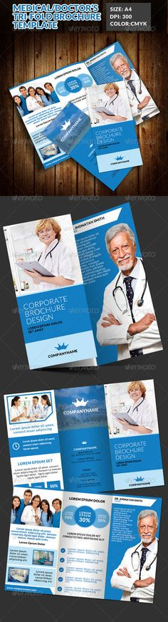 Doctor Medical Hospital Health Tri-Fold Brochure  —  PSD Template