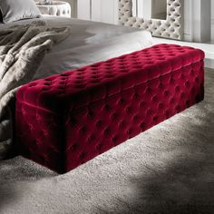 Luxury Italian Red Velvet Storage Ottoman