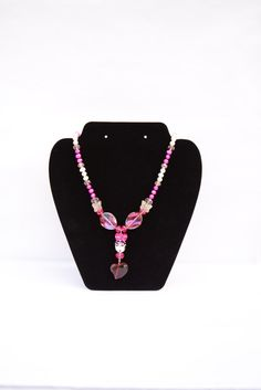 Pink Crystal Geisha Necklace with Red Crystal Heart. Valentine's Day Gift. Red Heart. Geisha Pendant. Pink Purple and White Pearl Necklace. by flashinfashinjewelry. Explore more products on http://flashinfashinjewelry.etsy.com