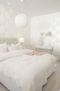 Personalize your home decoration with pretty digital printables. White Room Decor, All White Room, White Rooms, Room Ideas Bedroom, Home Decor Bedroom, Creative Beds, Shabby Chic Bedrooms, Cool Beds, Girl Room