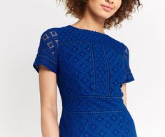 Oasis, ISLA LACE SHIFT DRESS Cobalt Blue