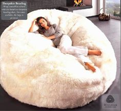 The ultimate in luxury seating! Genuine sheepskin bean bag chairs are extremely comfortable and luxurious. Wrap yourself in pure luxury while creating a statement in your home with this one-of-a kind authentic sheepskin bean bag. My New Room, My Room, Puff Gigante, Cozy Place, Deco Design, Home And Deco, My Dream Home, Home Interior Design, Luxury Interior
