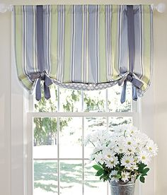 Sweetwater Stripe Lined Tie-Up Valance