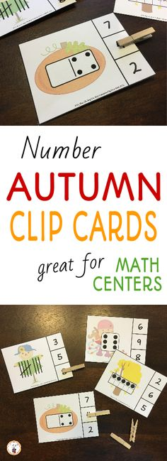 Looking for a math center this fall?  Try these engaging autumn themed number clip it cards.