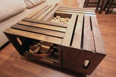 A coffee table made from wooden crates...