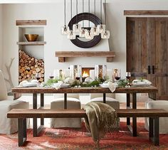 Griffin Wrought Iron & Reclaimed Wood Rectangular Fixed Dining Table