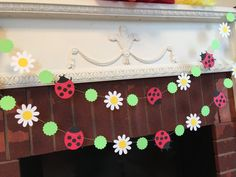 Here is a beautiful Ladybug and daisy Garland that will be a lovely addition for a Lady bug themed event! This 6ft garland is made with approx 2.5 inch card stock 2 layered lady bugs , 2 inch white card stock daisies and 1.5 inch spring green card stock scalloped circles all sewn together in a continuous straight line. We leave excess thread at each end for hanging. They would also look pretty in a little girls room or for a Lady bug birthday party or a baby shower too! This Garland is just…
