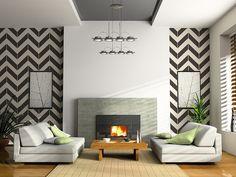 Chevron Wand gestalten Ideen grau weiß