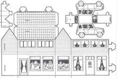 KleuterDigitaal - wb bouwplaat huis 05 Cardboard Toys, Paper Toys, Paper Crafts, Christmas Village Houses, Putz Houses, Christmas Villages, Kirigami, Papercraft Anime, 3d Templates