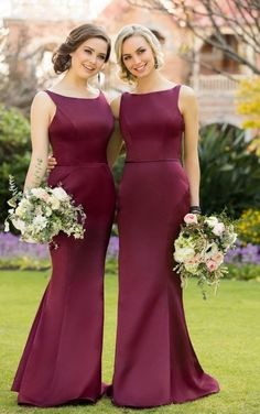 Burgundy bridemaids long dress (17)