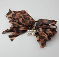 Handmade Chiffon Multi Wing Bow Pearl Ornamented Elastic Ponytail Holder #Handmade