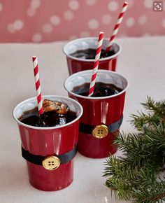 Bored with using plain red cups at your holiday party? Use black ribbon and a gold button to turn your cups into Santa cups Noel Christmas, Winter Christmas, Christmas Crafts, Christmas Ideas, Adult Christmas Party, Christmas Birthday Party, Christmas Party Ideas For Adults, Chritmas Diy, Holiday Ideas