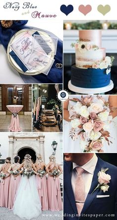 wedding cakes navy Top 8 Striking Navy Blue Wedding Color Palettes for 2019 Fall---navy blue and blush/mauve, vellum wedding invitations, spring and fall wedding invitation tips, simple and cheap wedding invitations,chic wedding invite Navy Blush Weddings, Navy Wedding Colors, Blue And Blush Wedding, Wedding Black, Spring Wedding, Rose Gold Bridesmaid, Gold Weddings, Pink Wedding Theme, Wedding Color Combinations