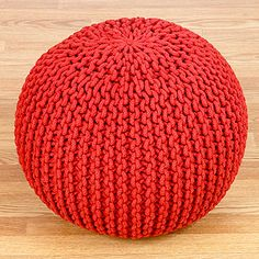 Chili Pepper Knitted Pouf | Pillows and Throws| Home Decor | World Market