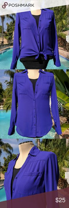 New~Express Blouse Original fit Express Blouse, Semi-Sheer fabric, sleeves w/ roll tabs.Beautiful deep purple color. Express Tops Blouses