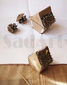 Предлагаю вашему вниманию мастер-класс по созданию шкатулки в виде избушки на курьих ножках. Для создания избушки понадобится следующие материалы:- бамбуковые палочки (от индивидуальных бамбуковых салфеток для кухонных столов);- сосновые шишки;- картон.Инструменты:- ножницы;- клей;- канцелярский нож;- лак. Шаг 1. Из картона вырезаются заготовки для каркаса: 1) шкатулка (основная часть): - 4 штуки…