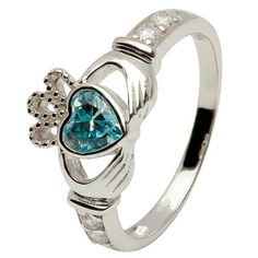 Birthstone rings. This is our most popular claddagh ring. This is a great gift for anyone from anyone. The claddagh means love, loyalty, and friendship.
