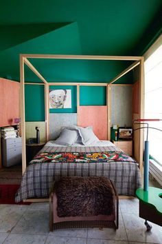 Original bedroom! This bed reminds of - http://www.naturalbedcompany.co.uk/shop/four-poster-bed/cube-modern-four-poster-bed/